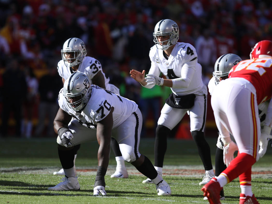 Oakland Raiders quarterback Derek Carr (4) waits for the football to be hiked during the first half of a NFL game against the Kansas City Chiefs in Kansas City, Mo., Sunday, Dec. 10, 2017. Heidi F ...