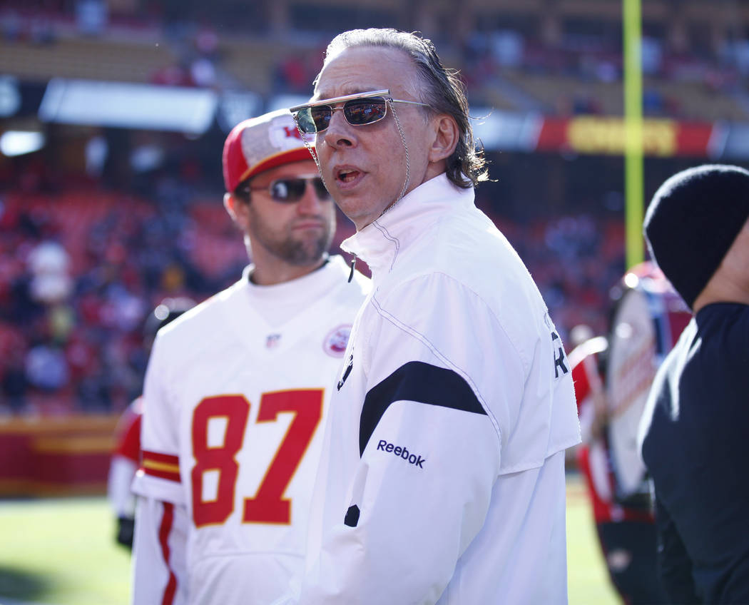 A fan impersonates the former owner of the Oakland Raiders, Al Davis, ahead of the NFL game against the Kansas City Chiefs in Kansas City, Mo., Sunday, Dec. 10, 2017. Heidi Fang Las Vegas Review-J ...