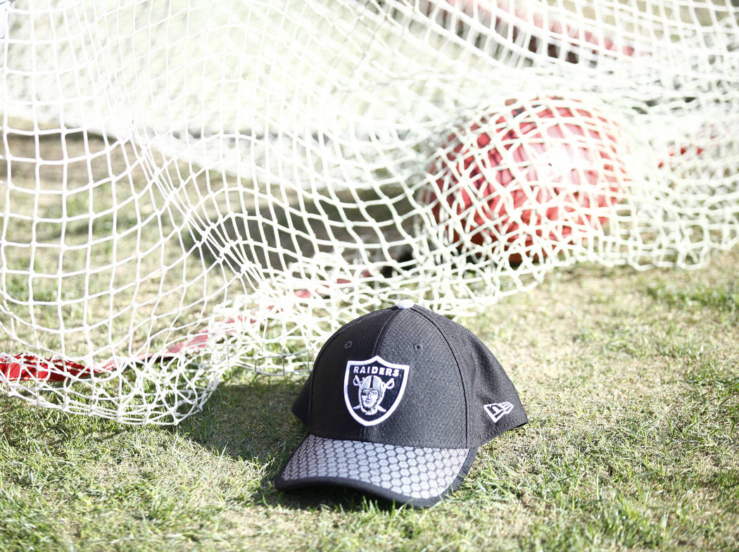 An Oakland Raiders hat on the team's sideline near the kicking net during the first half of a NFL game against the Kansas City Chiefs in Kansas City, Mo., Sunday, Dec. 10, 2017. Heidi Fang Las Veg ...