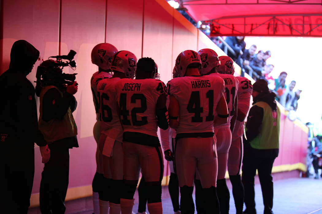 The Oakland Raiders cornerbacks huddle up before heading out to the field prior to their NFL game against the Kansas City Chiefs in Kansas City, Mo., Sunday, Dec. 10, 2017. Heidi Fang Las Vegas Re ...
