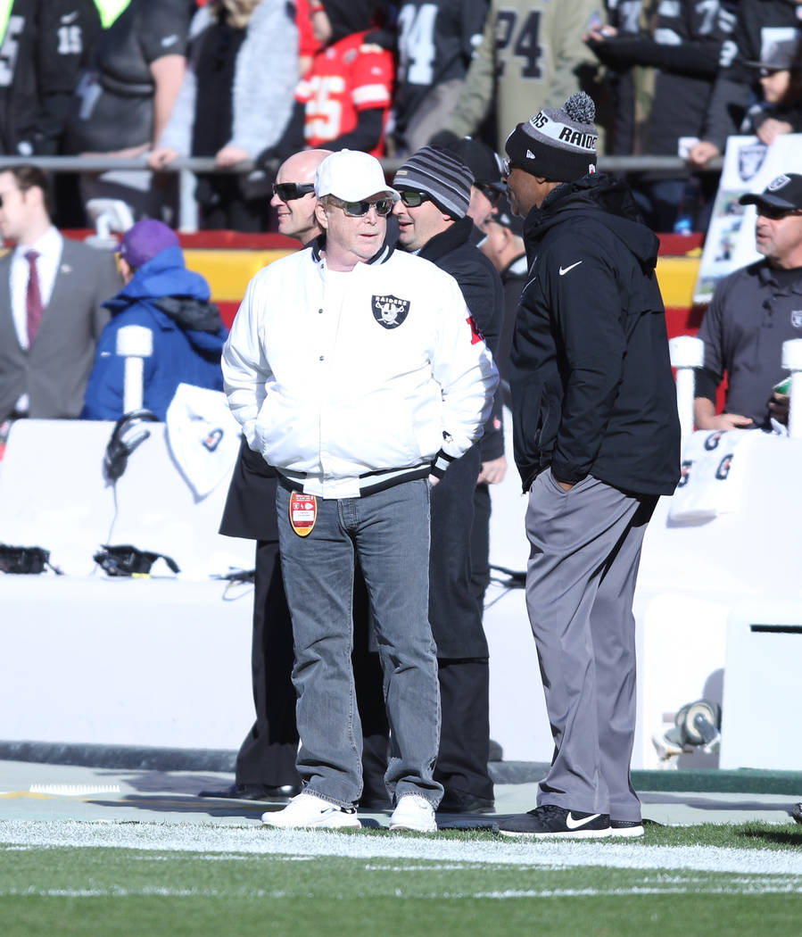 Oakland Raiders owner Mark Davis on the sideline before the team's game against the Kansas City Chiefs in Kansas City, Mo., Sunday, Dec. 10, 2017. Heidi Fang Las Vegas Review-Journal @HeidiFang