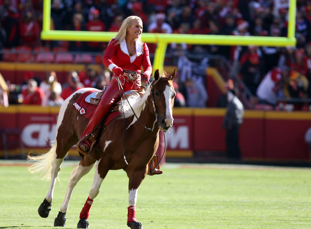 The Kansas City Chiefs horse runs on the field prior to the team's NFL game against the Oakland Raiders in Kansas City, Mo., Sunday, Dec. 10, 2017. Heidi Fang Las Vegas Review-Journal @HeidiFang