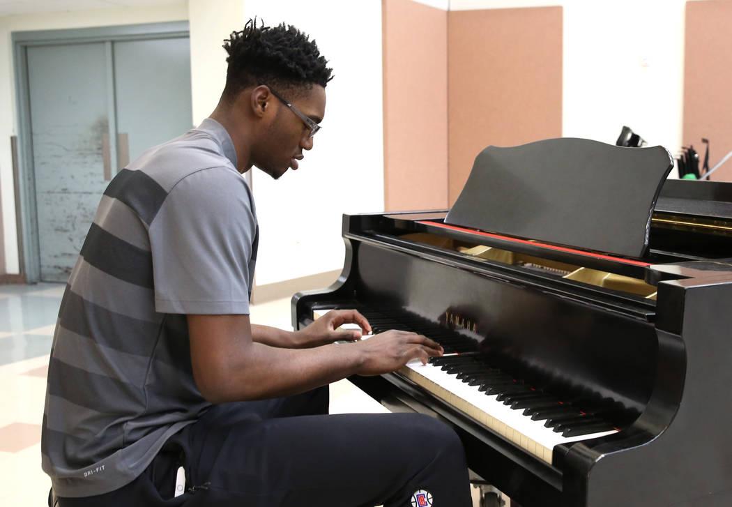 UNLV basketball player Brandon McCoy plays piano at the Lee and Thomas Beam Music Center on Tuesday, Dec. 12, 2017, in Las Vegas. Bizuayehu Tesfaye Las Vegas Review-Journal @bizutesfaye