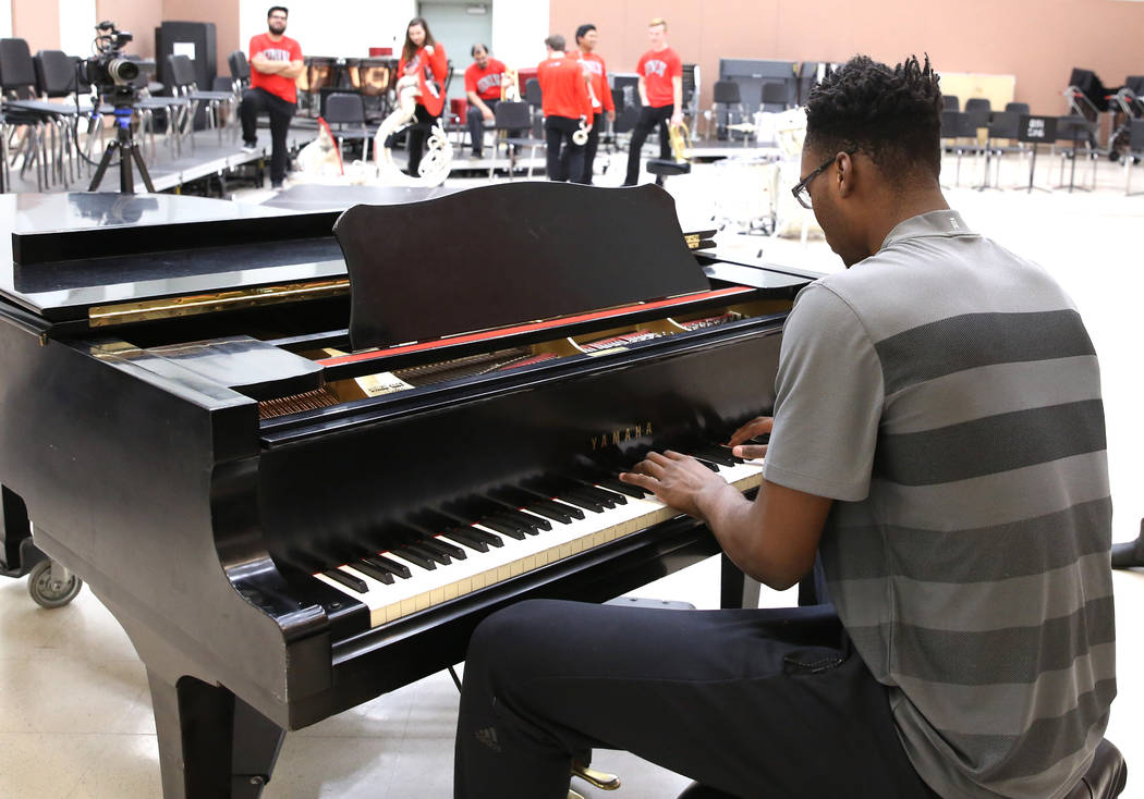 UNLV basketball player Brandon McCoy plays piano at the Lee and Thomas Beam Music Center on Tuesday, Dec. 12, 2017, in Las Vegas. Bizuayehu Tesfaye Las Vegas Review-Journal @bizutesfaye