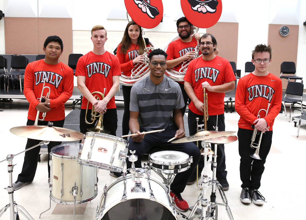 UNLV basketball player Brandon McCoy poses with university's basketball pep band on Tuesday, Dec. 12, 2017, in Las Vegas. Bizuayehu Tesfaye Las Vegas Review-Journal @bizutesfaye