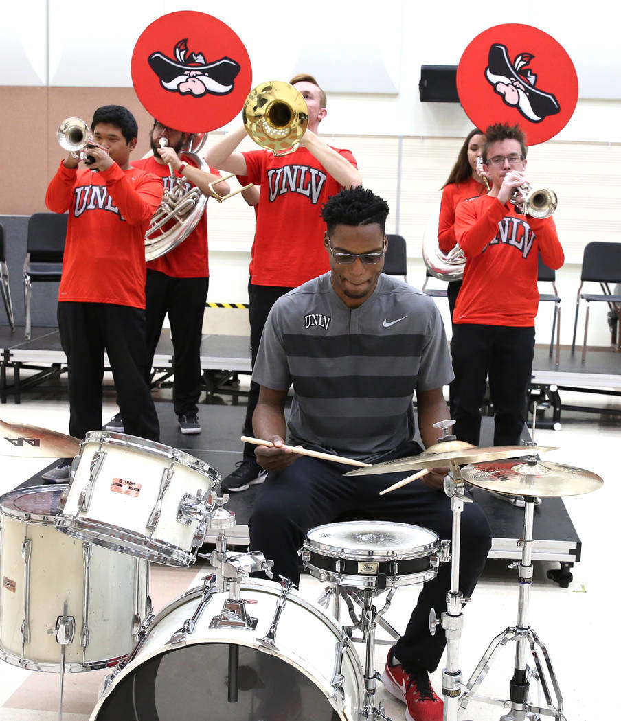 UNLV basketball player Brandon McCoy plays drums with university's basketball pep band on Tuesday, Dec. 12, 2017, in Las Vegas. Bizuayehu Tesfaye Las Vegas Review-Journal @bizutesfaye