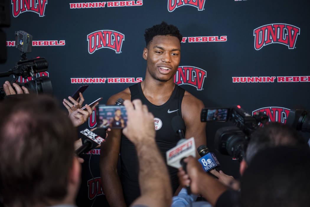 UNLV Men's Basketball top newcomer Brandon McCoy at a press conference at UNLV Mendenhall Center on Monday, July 31, 2017, in Las Vegas. Morgan Lieberman Las Vegas Review-Journal