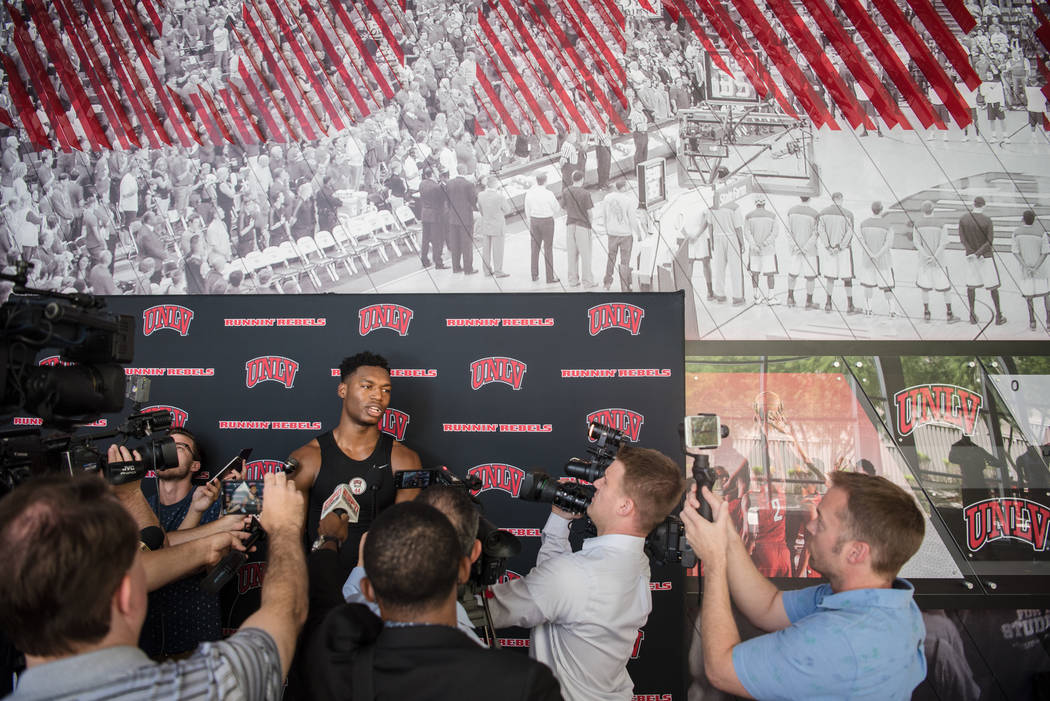 UNLV Men's Basketball top newcomer Brandon McCoy at a press conference at UNLV Mendenhall Center on Monday, July 31, 2017, in Las Vegas. Morgan Lieberman Las Vegas Review-Journal