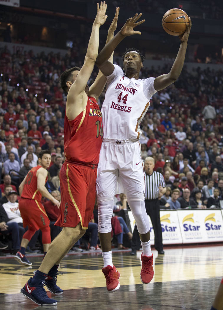 UNLV Rebels forward Brandon McCoy (44) takes a shot over Arizona Wildcats center Dusan Ristic (14) during the first half of an NCAA college basketball game at Thomas & Mack Center in Las Vegas ...