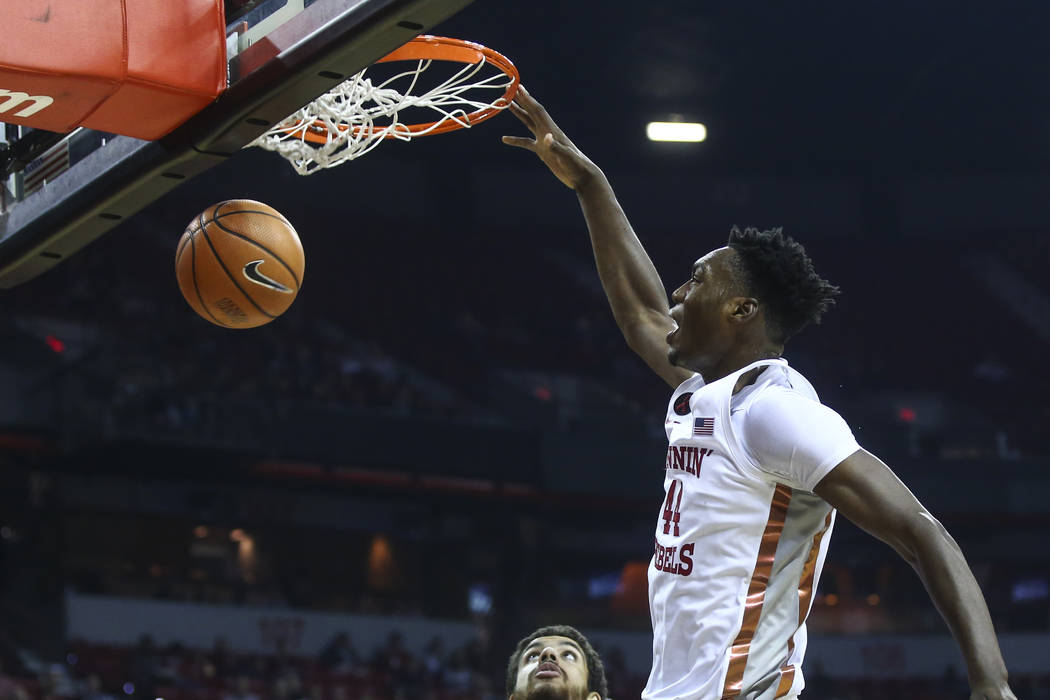 UNLV's Brandon McCoy (44) dunks the ball against Florida A&Mduring their basketball game at the Thomas & Mack Center in Las Vegas on Saturday, Nov. 11, 2017. Chase Stevens Las Vegas Review ...