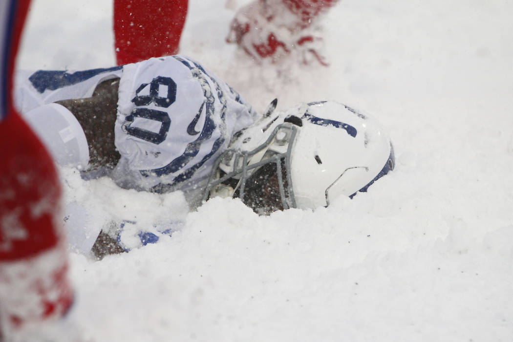 Indianapolis Colts Wide Receiver Chester Rogers Lies In The Snow After A Play During The Second Half Of An Nfl Football Game Against The Buffalo Bills Sunday Dec 10 2017 In Orchard