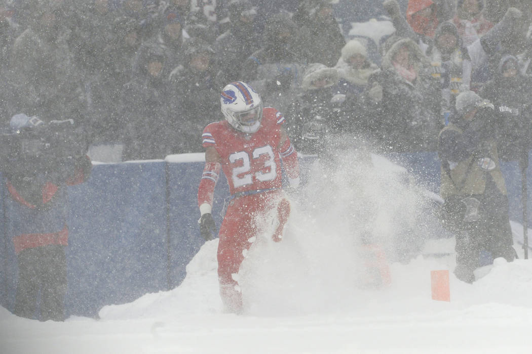 Buffalo Bills Strong Safety Micah Hyde Kicks Snow After A Play During The Second Half Of An Nfl Football Game Against The Indianapolis Colts Sunday Dec 10 2017 In Orchard Park N Y