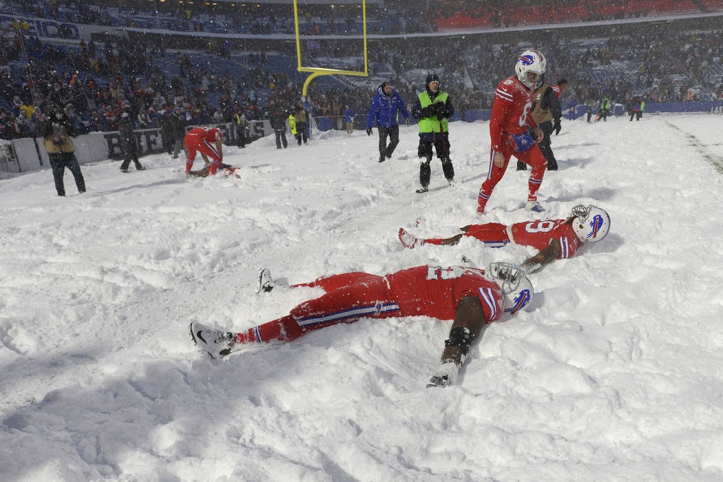 7f6450fa Bills celebrate OT win over Colts with snow angels in endzone ...