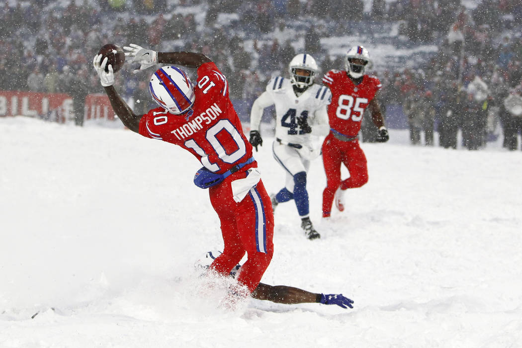 Buffalo Bills Wide Receiver Deonte Thompson Makes A Catch During The Overtime Of An Nfl Football Game Against The Indianapolis Colts Sunday Dec 10 2017 In Orchard Park N Y The Bills Beat