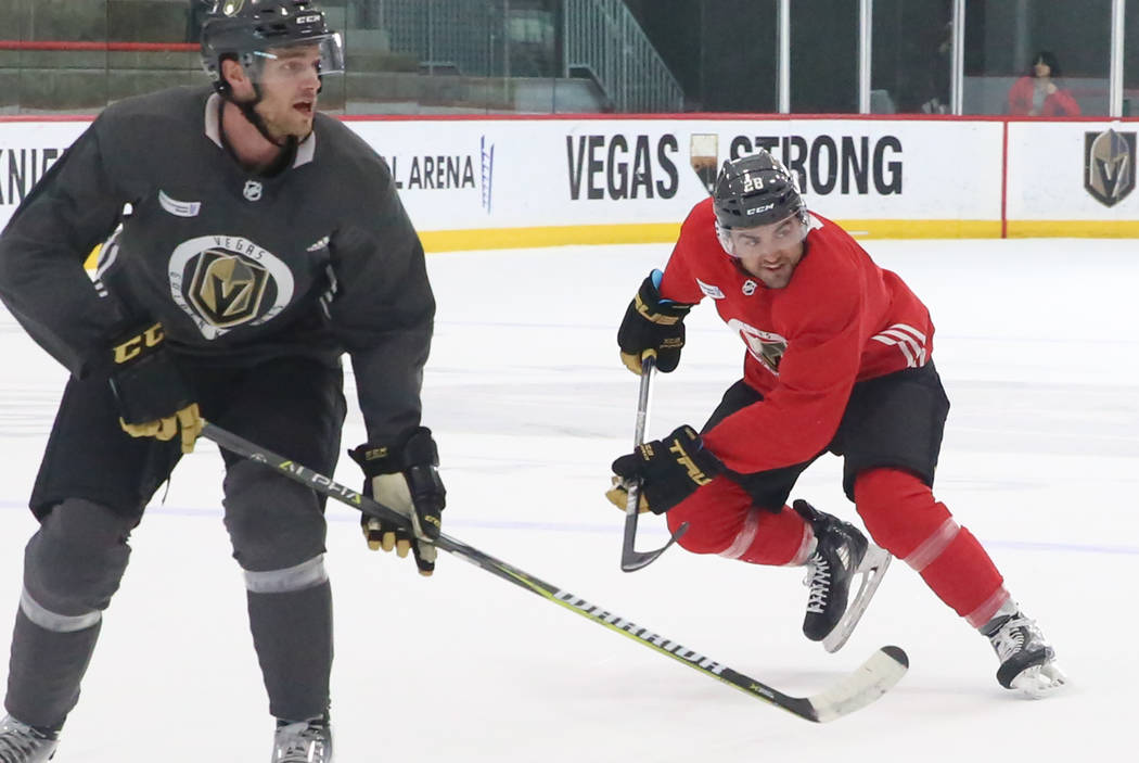 Vegas Golden Knights forward William Carrier, right, skates on the rink during team's practice on Monday, Dec. 11, 2017, in Las Vegas. Bizuayehu Tesfaye Las Vegas Review-Journal @bizutesfaye