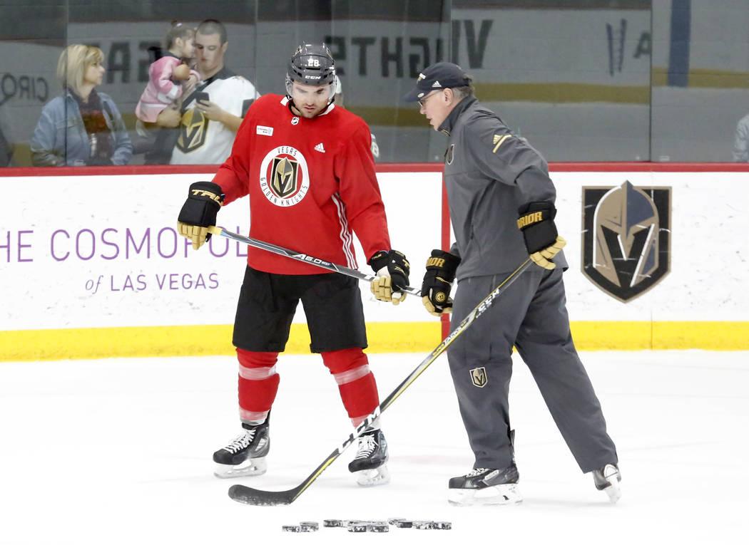 Vegas Golden Knights forward William Carrier and assistant coach Ryan McGill during team's practice on Monday, Dec. 11, 2017, in Las Vegas. Bizuayehu Tesfaye Las Vegas Review-Journal @bizutesfaye