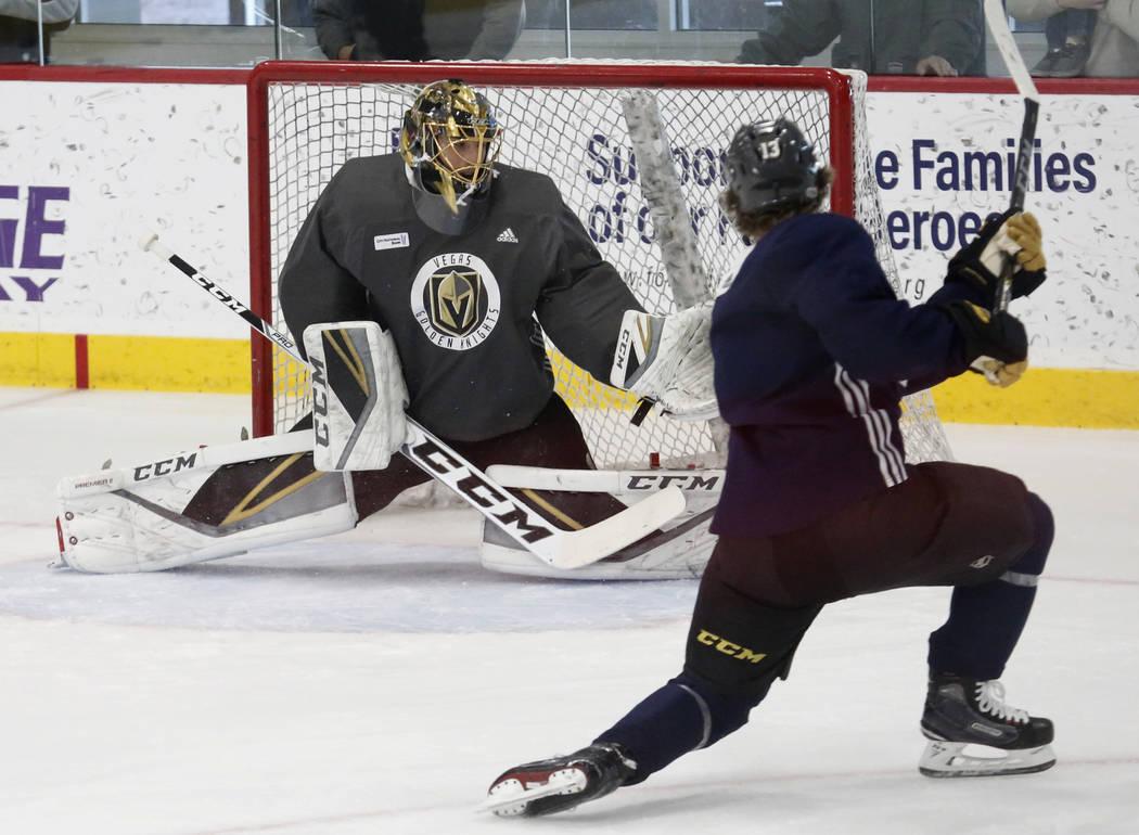 Vegas Golden Knights goalie Marc-Andre Fleury blocks the puck during team's practice on Monday, Dec. 11, 2017, in Las Vegas. Bizuayehu Tesfaye Las Vegas Review-Journal @bizutesfaye