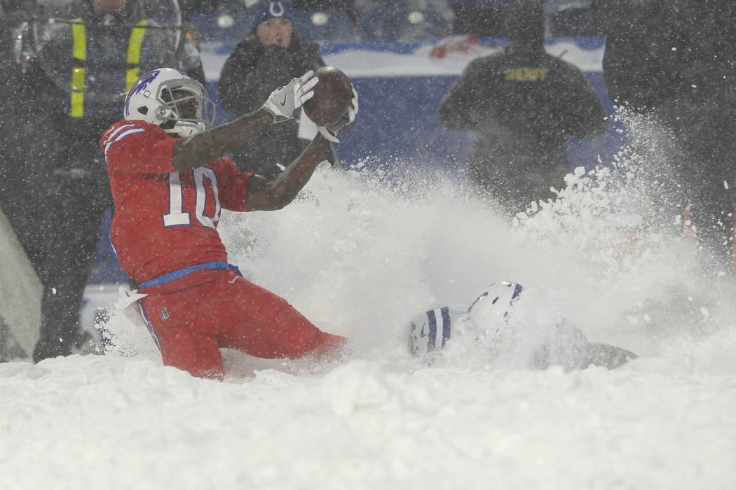 Buffalo Bills wide receiver Deonte Thompson makes a catch during the overtime of an NFL football game against the Indianapolis Colts, Sunday, Dec. 10, 2017, in Orchard Park, N.Y. The Bills beat th ...