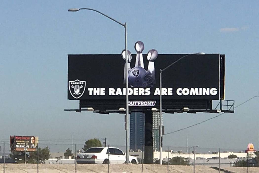 The Raiders updated their billboard at the Las Vegas stadium site in early September, showing three Super Bowl trophies. (Heidi Fang/Las Vegas Review-Journal)