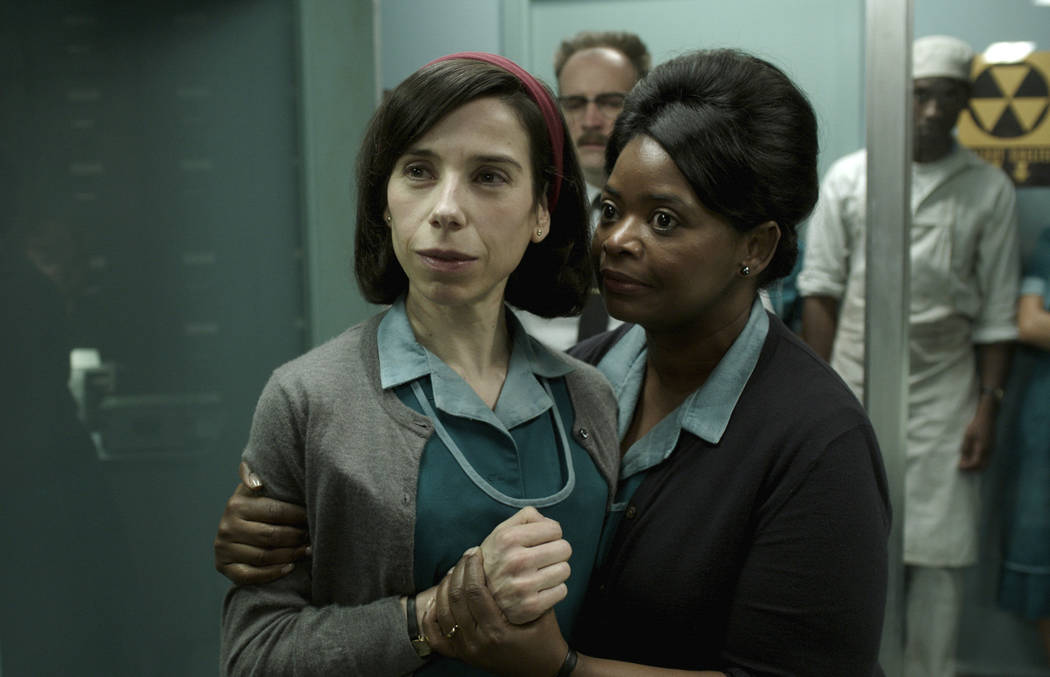 "Sally Hawkins, left, and Octavia Spencer in a scene from the film ""The Shape of Water."" On Monday, Dec. 11, 2017, Hawkins was nominated for a Golden Globe for best actress in a motion picture dram ..."