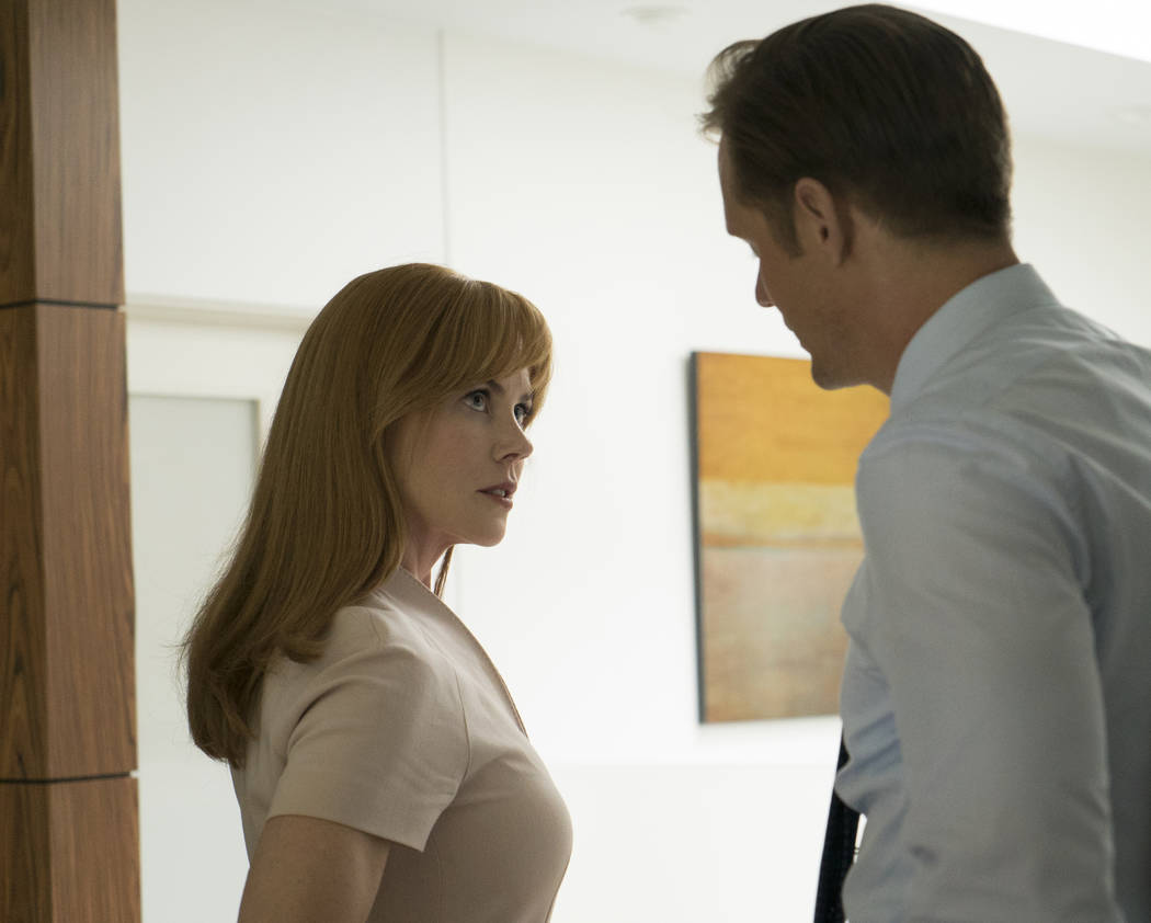 "Nicole Kidman and Alexander Skarsgard star in ""Big Little Lies."" The two actors and the series received Golden Globe nominations, announced on Monday, Dec. 11, 2017. (Hilary Bronwyn Gayle/HBO via AP)"