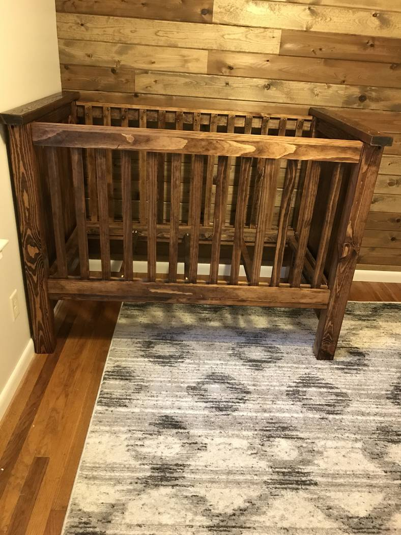 Tim O'Connell has become quite the handyman during his wife Sami's pregnancy with the couple's first child. Among several projects he's completed at the family home in Missouri is this wooden crib ...
