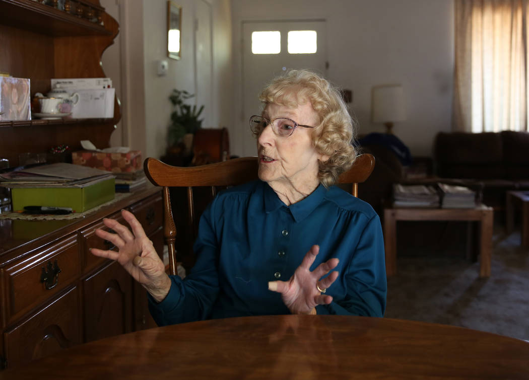 Louise Jones, 87-year-old U.S. Air Force veteran, during an interview with the Las Vegas Review-Journal at her Las Vegas home Tuesday, Dec. 12, 2017. Rebuilding Together, a nationwide nonprofit or ...