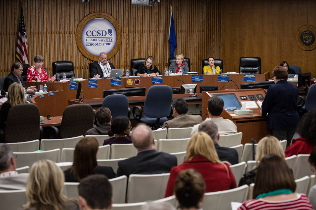 Clark County School District Board of Trustees at a regular board meeting in the Edward A. Greer Education Center in Las Vegas, Tuesday, Dec. 5, 2017. Joel Angel Juarez Las Vegas Review-Journal @j ...