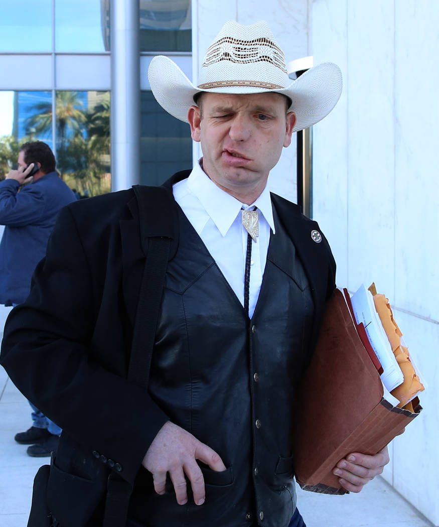 Ryan Bundy leaves the Lloyd George U.S. Courthouse on Monday, Dec. 11, 2017, in Las Vegas. A federal judge in Las Vegas raised the prospect of a mistrial Monday for four main defendants, including ...
