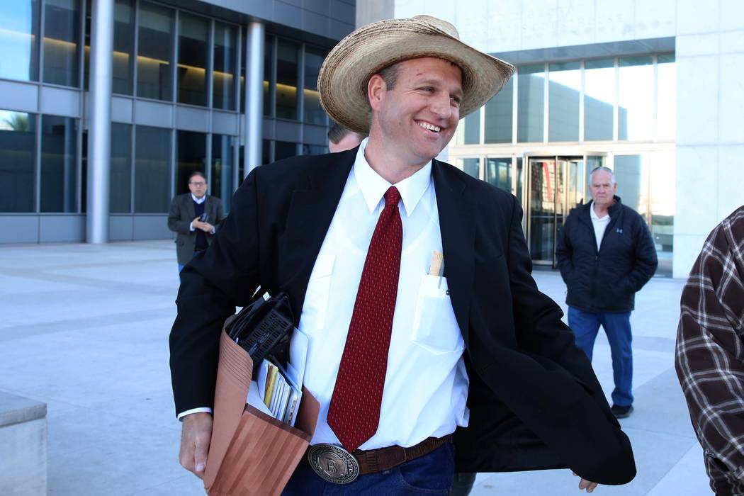 Ammon Bundy leaves the Lloyd George U.S. Courthouse on Monday, Dec. 11, 2017, in Las Vegas. A federal judge in Las Vegas raised the prospect of a mistrial Monday for four main defendants, includin ...