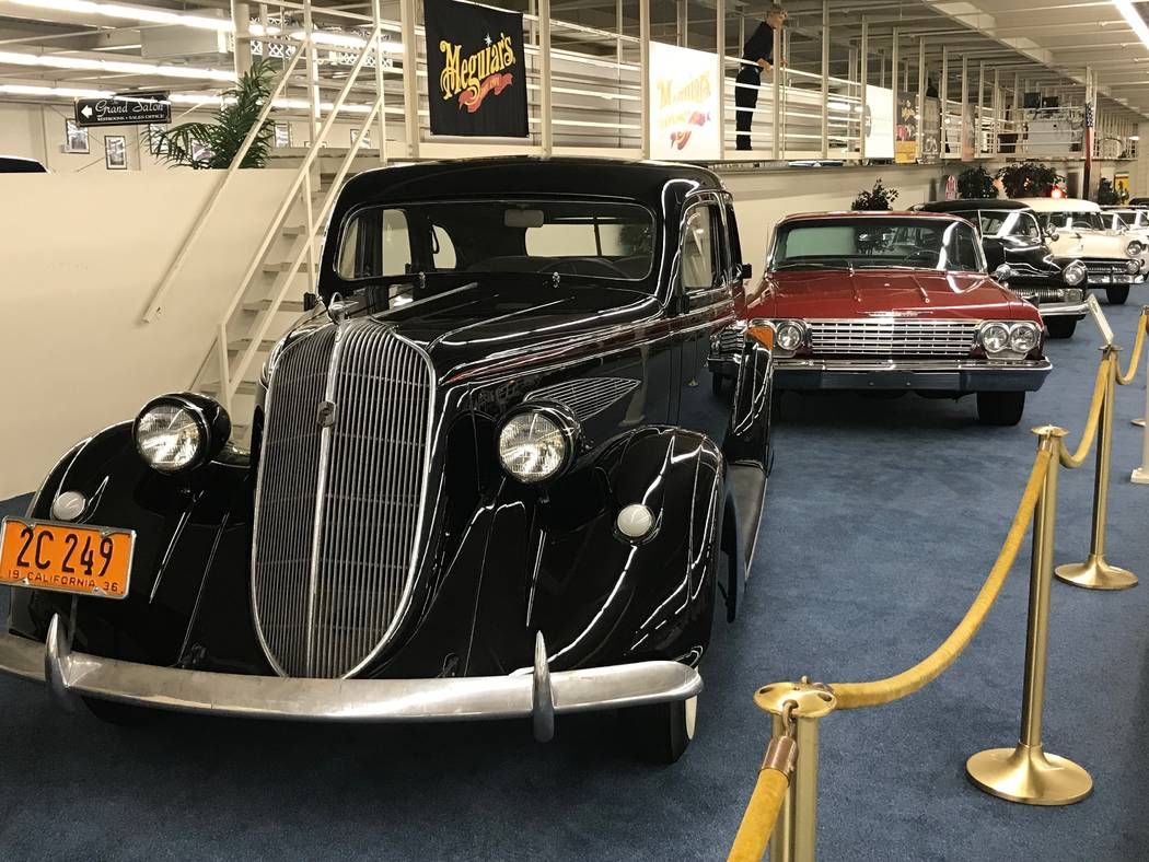 A 1936 Nash Ambassador Six 3620 touring sedan owned by Metallica lead singer James Hetfield on display at The Auto Collections vintage-car museum and store at The Linq hotel-casino in Las Vegas, T ...