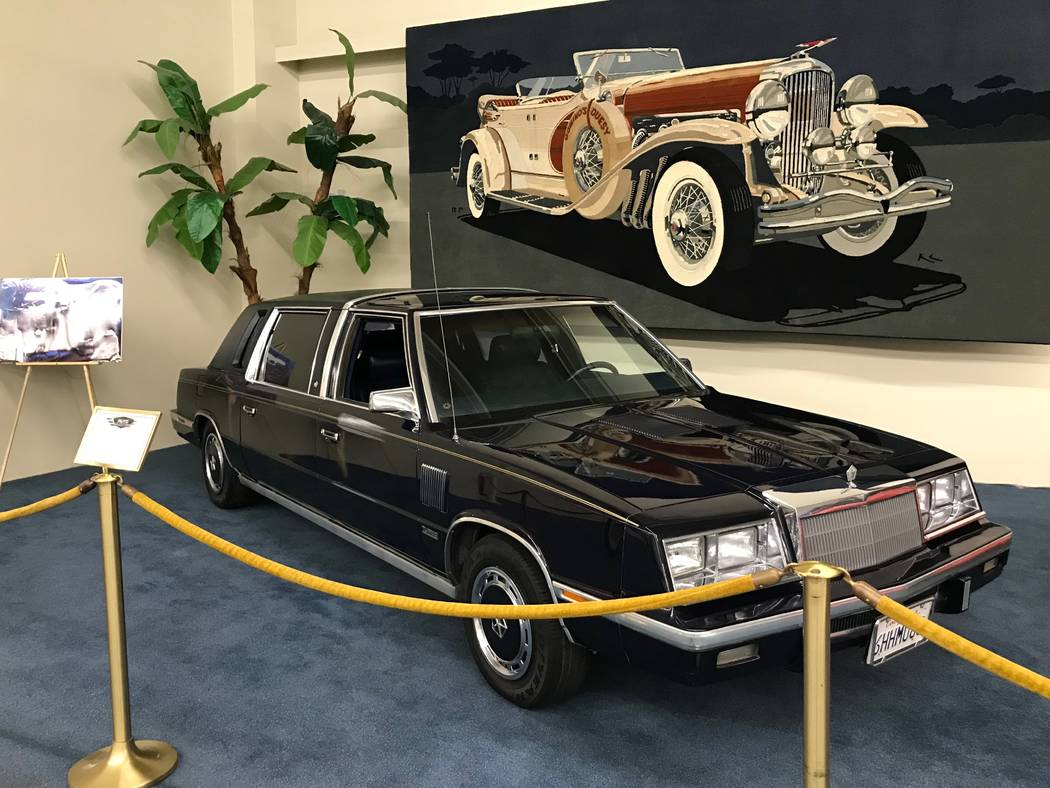 A 1986 Chrysler Executive Limousine belonging to Frank Sinatra is on display at The Auto Collections vintage-car museum and store at The Linq hotel-casino in Las Vegas, Tuesday, Dec. 12, 2017. The ...
