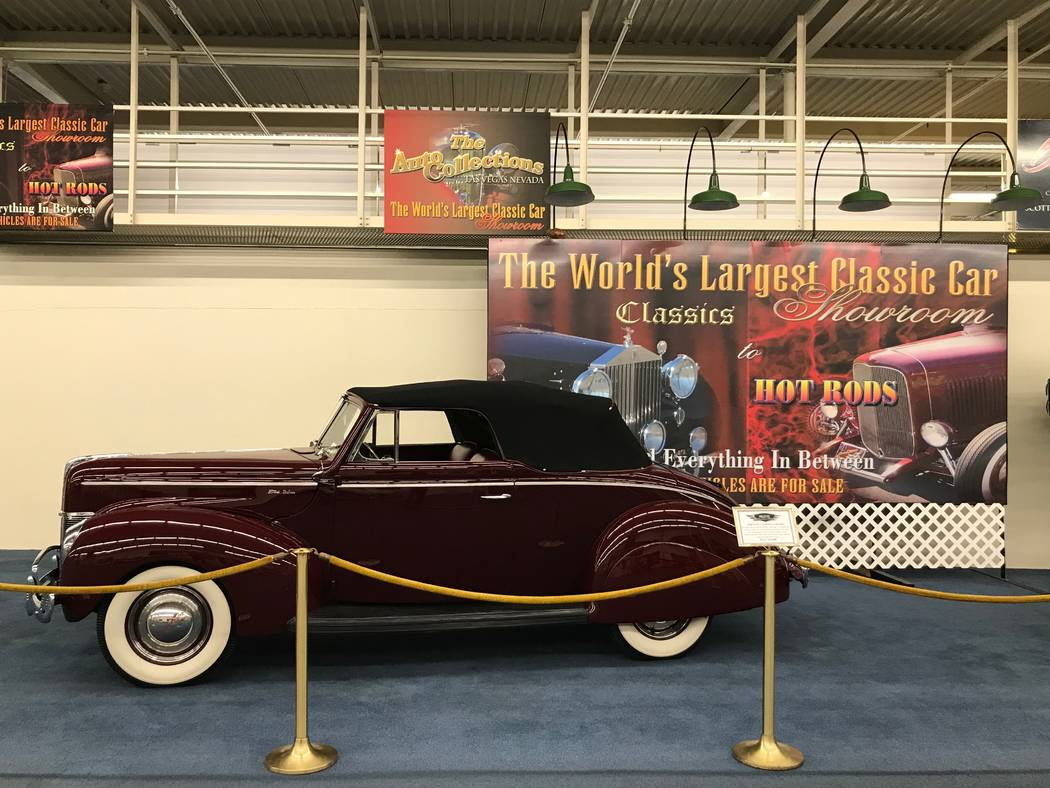 A 1940 Ford V-8 Deluxe Cabriolet on display at The Auto Collections vintage-car museum and store at The Linq hotel-casino in Las Vegas, Tuesday, Dec. 12, 2017. The vintage dealer is closing to the ...