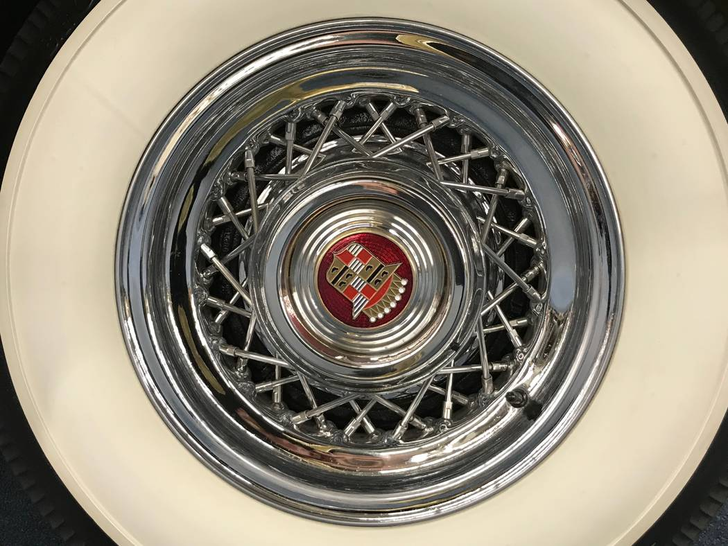 A tire belonging to a 1941 Cadillac Fleetwood sedan on display at The Auto Collections vintage-car museum and store at The Linq hotel-casino in Las Vegas, Tuesday, Dec. 12, 2017. The vintage deale ...
