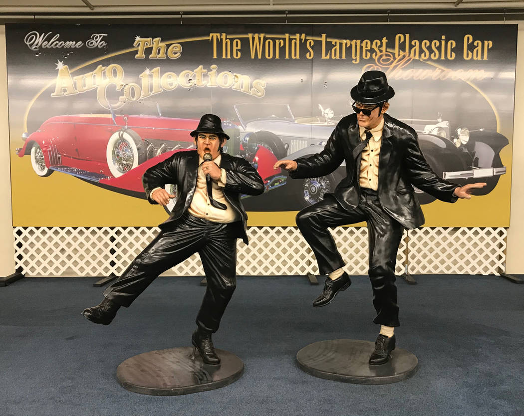 """""""The Blues Brothers"""" life-size statues on display at The Auto Collections vintage-car museum and store at The Linq hotel-casino in Las Vegas, Tuesday, Dec. 12, 2017. The vintage  ..."""