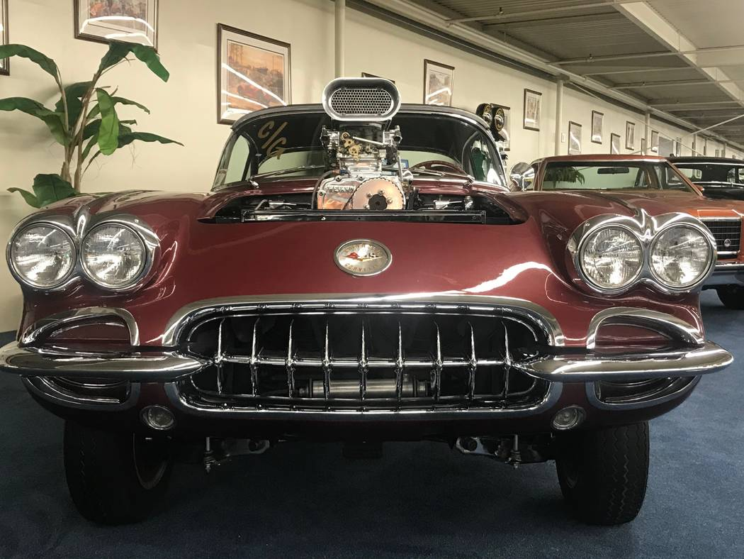 "A 1959 Chevrolet Corvette Gasser as seen on ""Counting Cars"" with Danny ""The Count"" Koker on display at The Auto Collections vintage-car museum and store at The  ..."