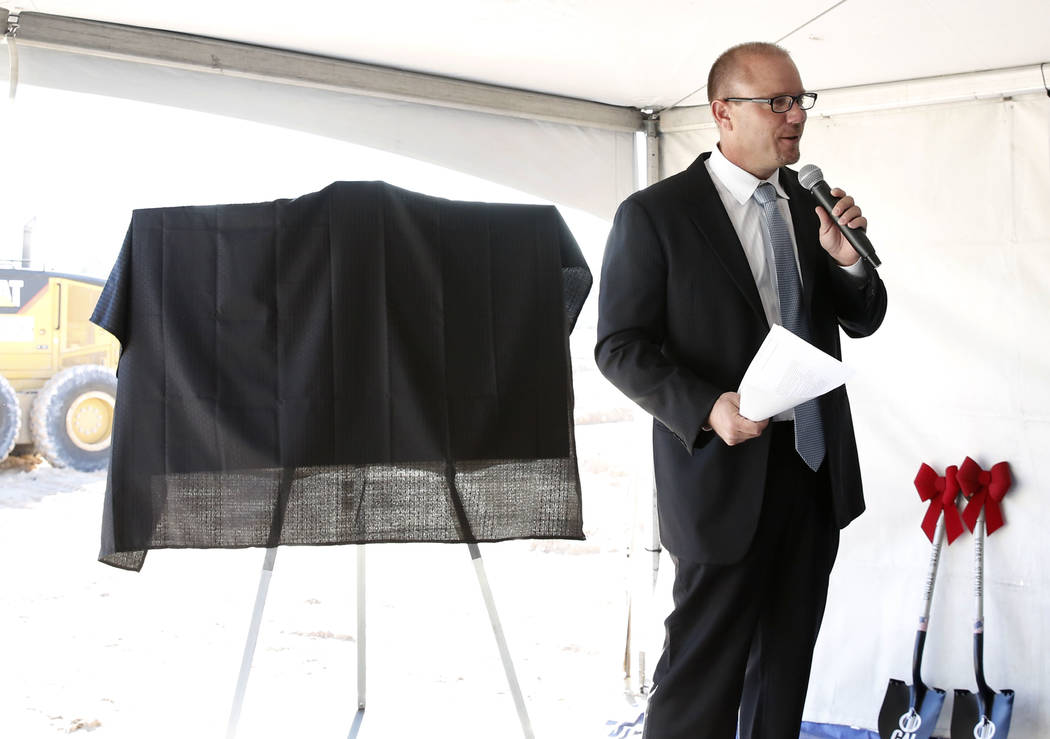 Developer Chris Beavor speaks before holding a ceremonial groundbreaking for a mixed-use project at 3883 Flamingo Road next to the Palms,Friday, Dec. 15, 2017, in Las Vegas. Bizuayehu Tesfaye La ...