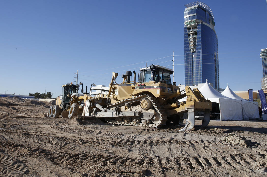 Heavy construction equipment at the construction site of a mixed-use project at 3883 Flamingo Road next to the Palms,Friday, Dec. 15, 2017, in Las Vegas. Bizuayehu Tesfaye Las Vegas Review-Journ ...
