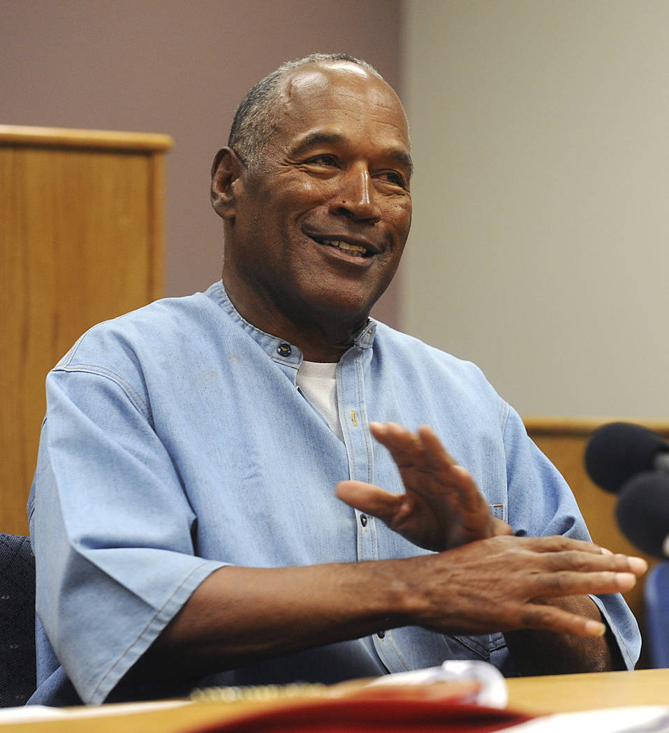 Former NFL football star O.J. Simpson attends his parole hearing at the Lovelock Correctional Center in Lovelock, Nev., on Thursday, July 20, 2017. Simpson was granted parole Thursday after more t ...