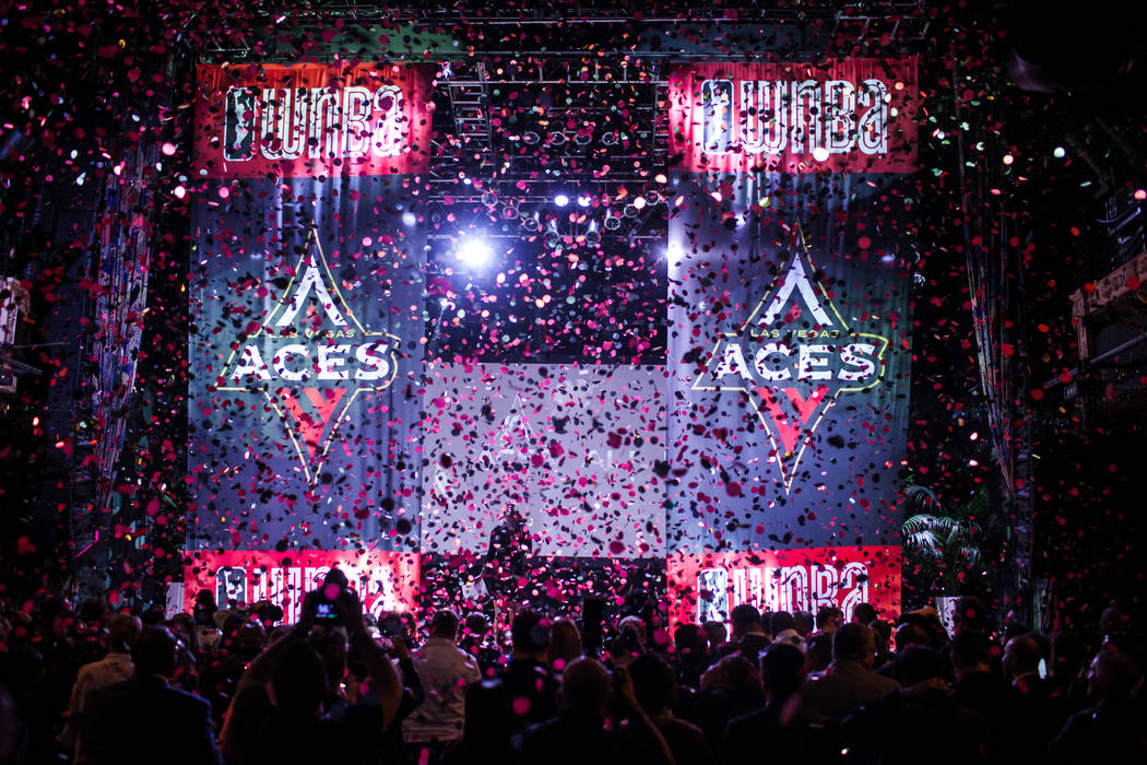 Confetti fills a room during the reveal of the Las Vegas Aces WNBA basketball team at the House of Blues at Mandalay Bay in Las Vegas, Monday, Dec. 11, 2017. Joel Angel Juarez Las Vegas Review-Jou ...