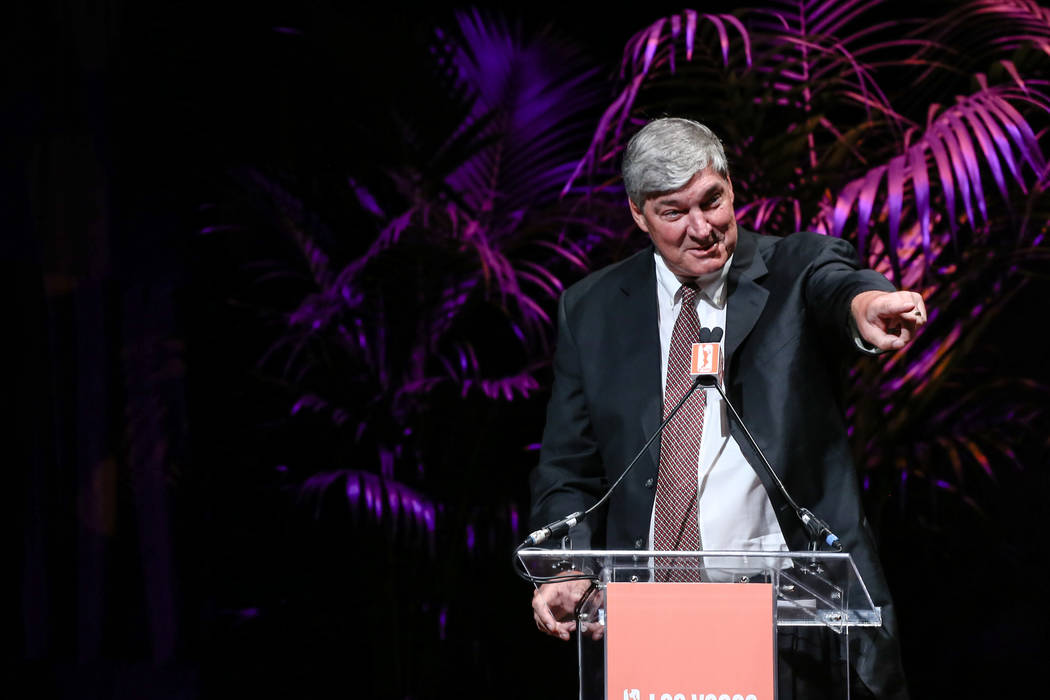 Las Vegas Aces head coach Bill Laimbeer speaks during the reveal of the Las Vegas Aces WNBA basketball team at the House of Blues at Mandalay Bay in Las Vegas, Monday, Dec. 11, 2017. Joel Angel Ju ...