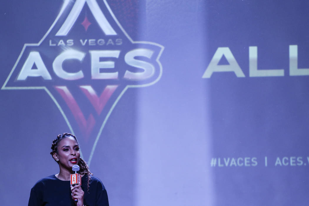 LaChina Robinson speaks during the reveal of the Las Vegas Aces WNBA basketball team at the House of Blues at Mandalay Bay in Las Vegas, Monday, Dec. 11, 2017. Joel Angel Juarez Las Vegas Review-J ...