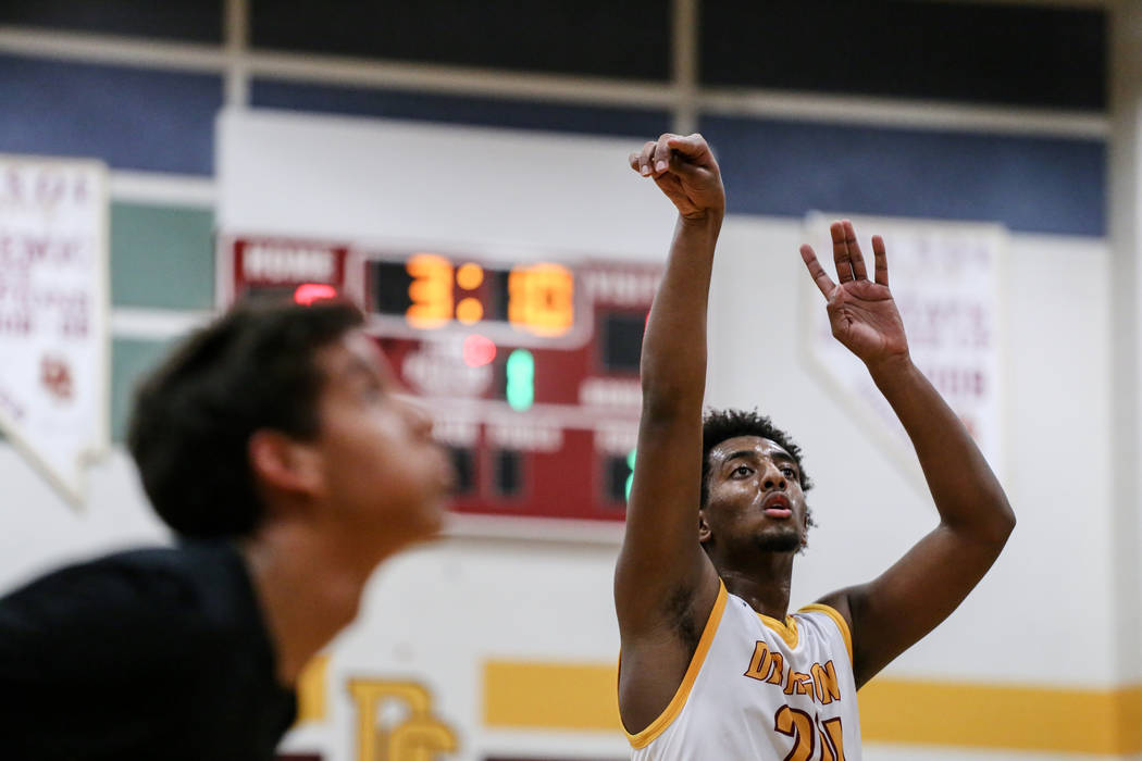 Del Sol's Nati Asfaw (24) shoots a free-throw against Southeast Career Tech during the first quarter of a basketball game at Del Sol High School in Las Vegas, Thursday, Dec. 14, 2017. Del Sol won  ...