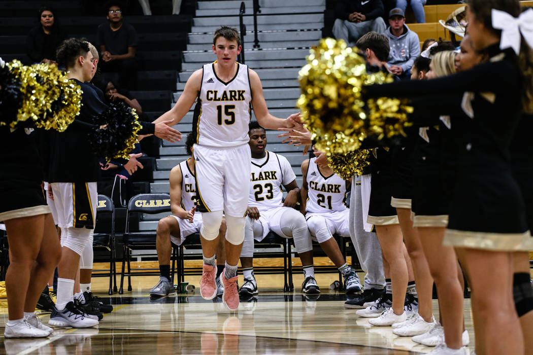 Clark ChargersՠJames Bridges (15) is introduced before the start of a basketball game against Liberty at Ed W. Clark High School in Las Vegas, Friday, Dec. 15, 2017. Clark Chargers won 66-51 ...