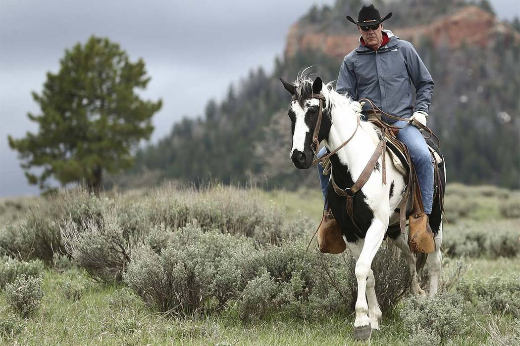 Interior Secretary Ryan Zinke rides in the Bears Ears National Monument with local and state representatives in Blanding, Utah, on May 19. Zinke is strongly disputing a claim by outdoor retailer P ...