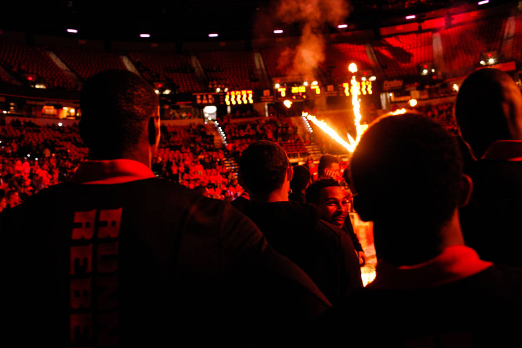 UNLV Rebels are introduced at the start of a basketball game against the Mississippi Valley State Delta Devils at the Thomas & Mack Center in Las Vegas, Wednesday, Dec. 20, 2017. UNLV Rebels w ...