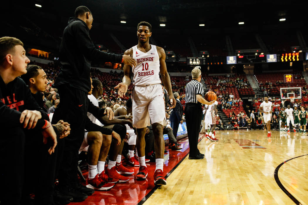 UNLV Rebels forward Shakur Juiston (10) returns to the bench during the first half of a basketball game against the Mississippi Valley State Delta Devils at the Thomas & Mack Center in Las Veg ...