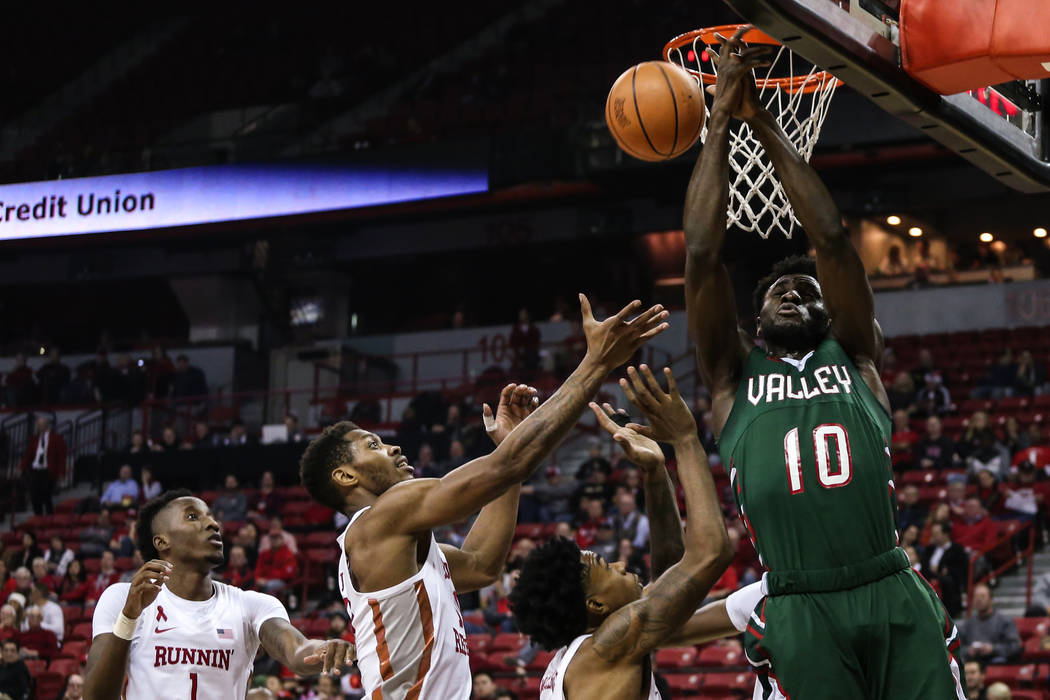 Mississippi Valley State Delta Devils center Emmanuel Ejeh (10) fails to capture a rebound during the first half of a basketball game against the UNLV Rebels at the Thomas & Mack Center in Las ...
