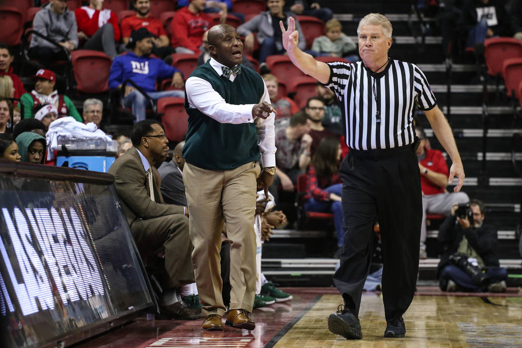 Mississippi Valley State Delta Devils head coach Andre Payne reacts during the first half of a basketball game at the Thomas & Mack Center in Las Vegas, Wednesday, Dec. 20, 2017. UNLV Rebels w ...