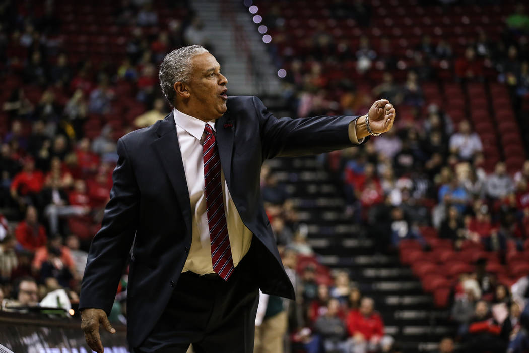 UNLV Rebels head coach Marvin Menzies reacts during the first half of a basketball game at the Thomas & Mack Center in Las Vegas, Wednesday, Dec. 20, 2017. UNLV Rebels won 95063Joel Angel Juar ...